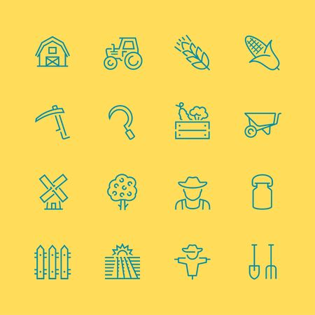 arable: Vector farm related vector icon set, thin line style Illustration