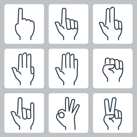 Conjunto de iconos de manos de vector: recuento de dedos, gesto de parada, puño, gesto de cuernos de diablo, gesto bien, signo v