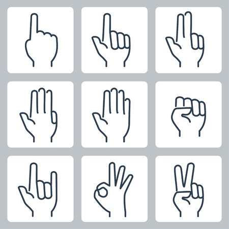 Vector hands icons set: finger counting, stop gesture, fist, devil horns gesture, okay gesture, v sign Çizim
