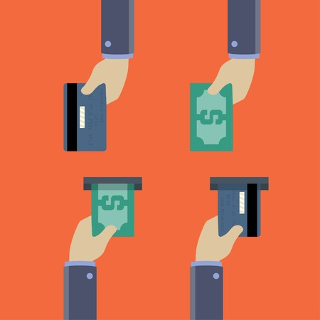 give and take: Hands with cash and credit cards, give and take, flat style
