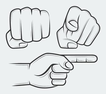 dedo apuntando: Perforación del puño, mano con el dedo índice apuntando al espectador y lateral mano apuntando Vectores