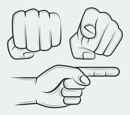 pointing at: Punching fist, hand with index finger pointing at the viewer and side view pointing hand
