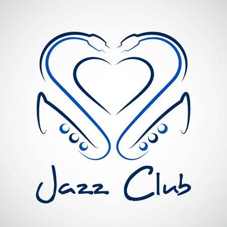 jazz club: logo du club de jazz, un c?ur de saxophones