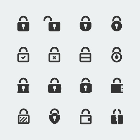 Vector icon set of locks
