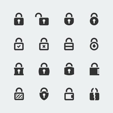 Vector icon set of locks