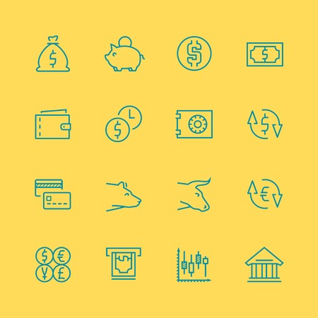 stock broker: Vector business,finance and stock exchange icon set, thin line style