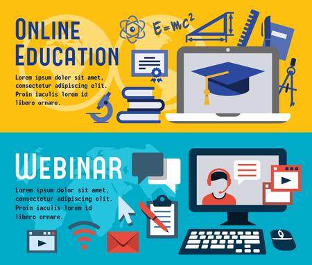 training computer: Flat banners for online education and webinar