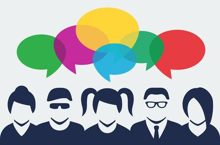 Vector people silhouettes with colorful dialog speech bubbles above Vector