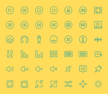 subtitles: Vector audio and video player icons, thin line style