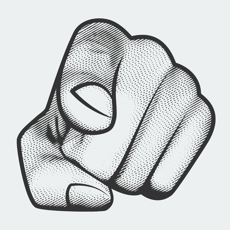 pointing finger: Hand with index finger pointing at the viewer, engraving style Illustration