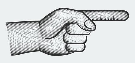 dedo señalando: Mano con el dedo que señala, la vista lateral, el estilo de grabado
