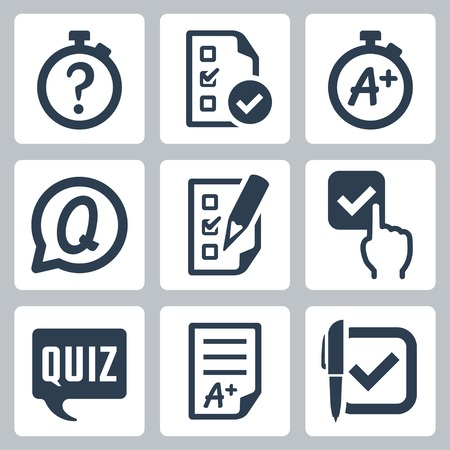 kwis: Quiz gerelateerde vector icon set
