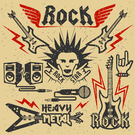 hard rock: Rock music and heavy metal vector illustration, grunge effect is removable