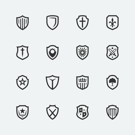 sword and shield: Shield icons on gray background