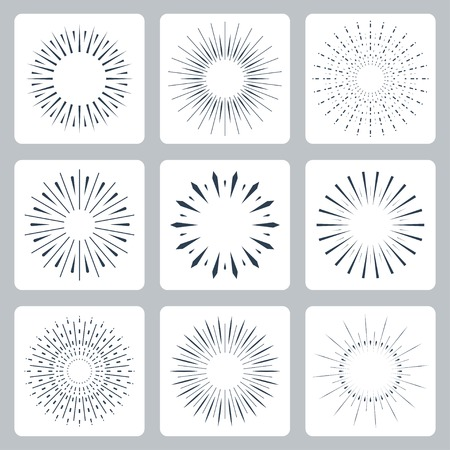 Vector icon set of vintage sparkles and stars Illustration