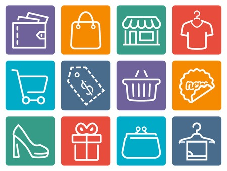simple store: Shopping related vector icon set