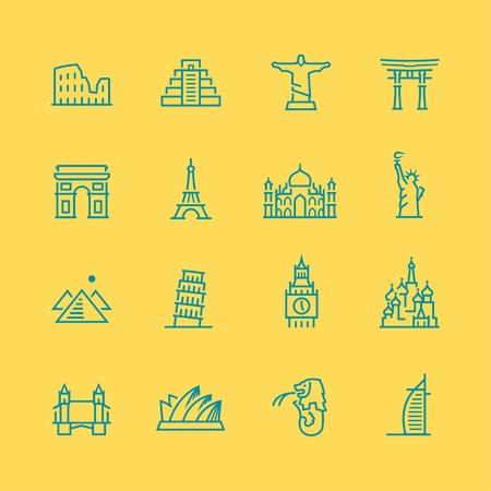 World sights vector icon set, thin line style Illustration