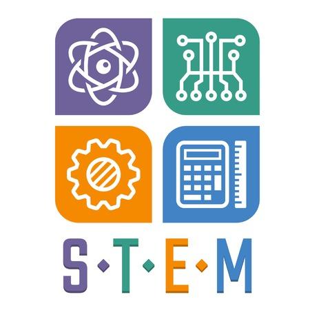 Illustration vectorielle de l'enseignement des sciences, de la technologie, de l'ingénierie et des mathématiques