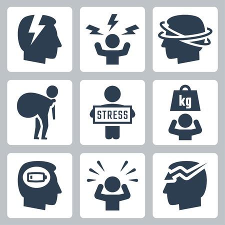 El estrés y la depresión relacionada con el conjunto de iconos vectoriales Foto de archivo - 37491783