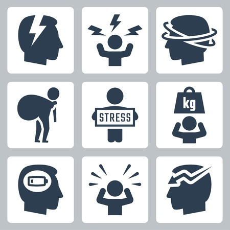 headache: Stress and depression related vector icon set