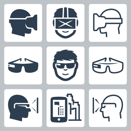 headset symbol: Virtual and augmented reality vector icon set Illustration