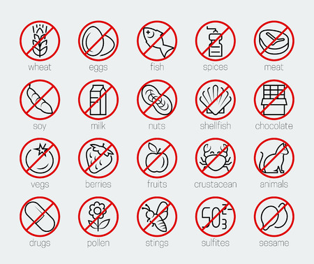 Allergens icon set in thin line style Vector