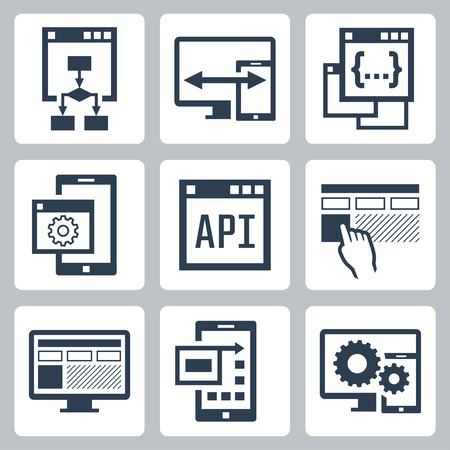 Application programming interface icon set Vectores
