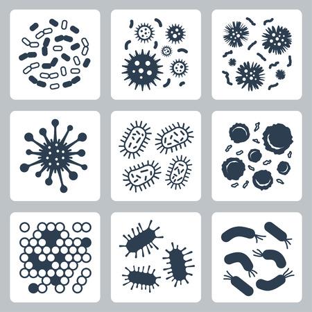 bacterias: Bacterias vectoriales, microbios conjunto de iconos