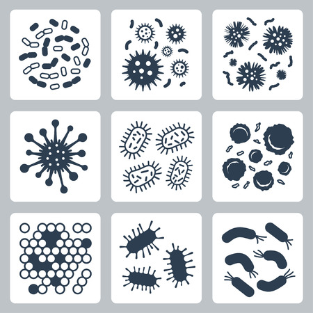 Vector bacteria, microbes icon set