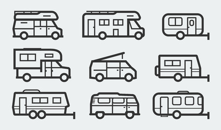 Recreational vehicles camper vans icons