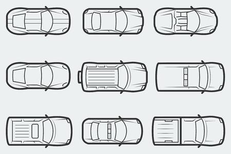 car: Auto vettoriali in stile contorno, vista tom
