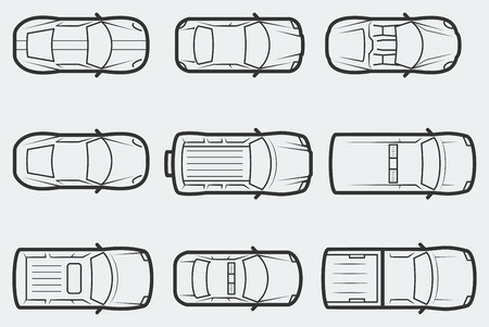 view: Vector cars in outline style, tom view