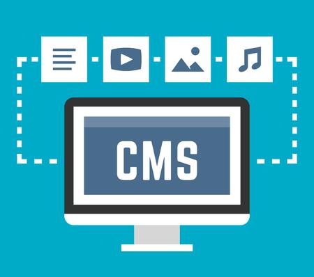 article marketing: CMS concept on blue background, vector illustration Illustration