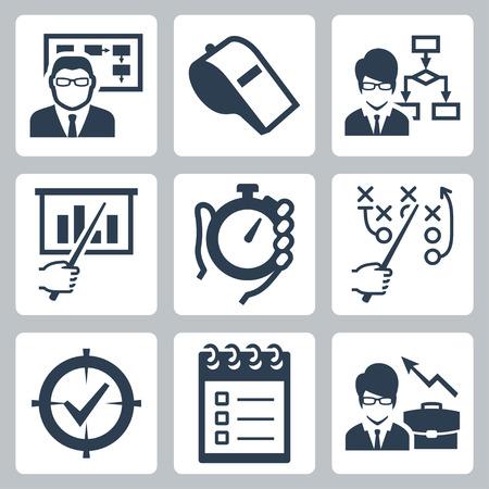 cronometro: Coaching, formación y tutoría vector icon set