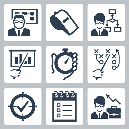 govern: Coaching, training and mentoring vector icon set
