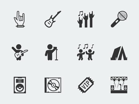 Rock festival, concert vector icon set