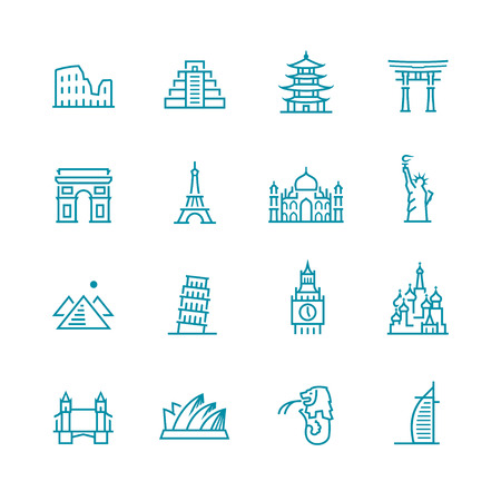 Landmarks and monuments icon set Vector