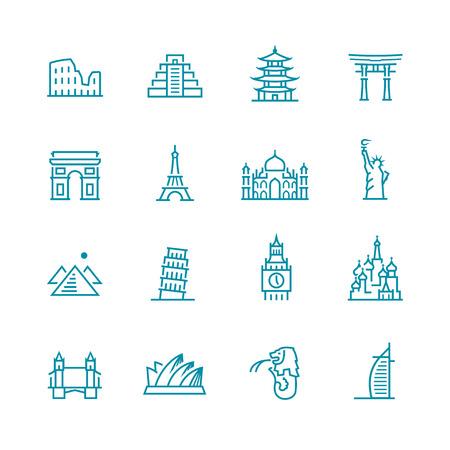 singapore: Landmarks and monuments icon set