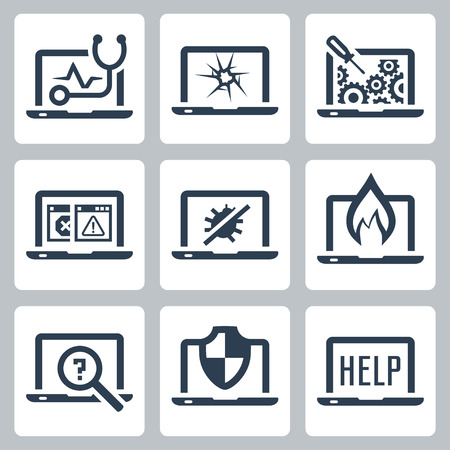 Laptop tech service icon set Vectores