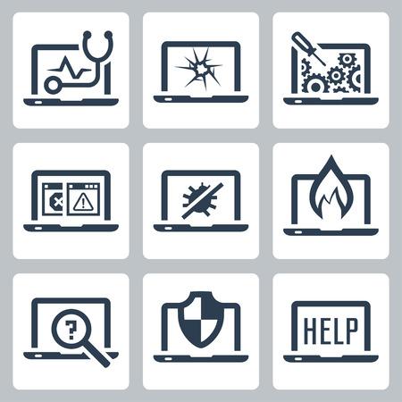 Laptop tech service icon set Vectores