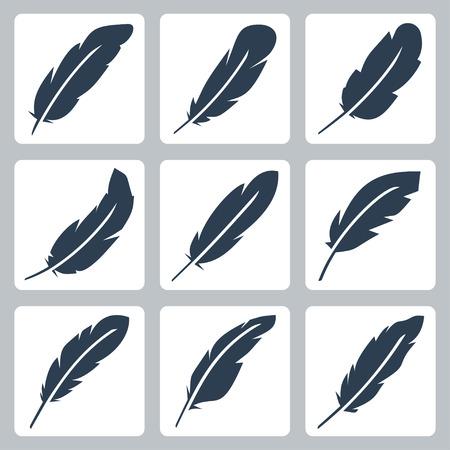 pluma: Iconos vectoriales de plumas fijaron