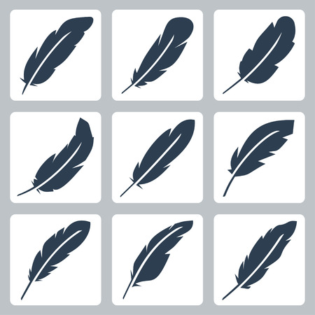 a feather: Vector feather icons set