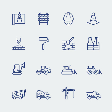 machinery: Construction and building icon set in thin line style Illustration