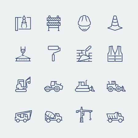 Construction et bâtiment icon set dans le style de ligne mince Vecteurs