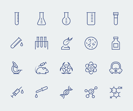 Vector icon set of science and research