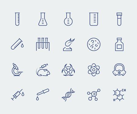 experimento: Vector icono conjunto de la ciencia y la investigación