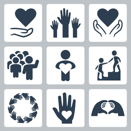 round icons: Charity and volunteer icon set