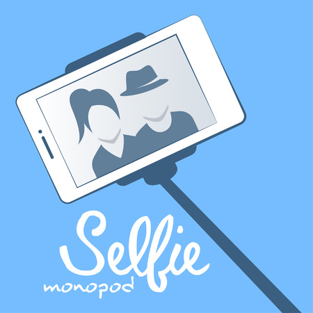 camera phone: Vector illustration of selfie monopod