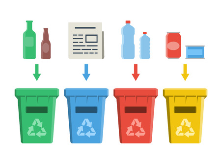 paper recycle: Different colored recycle bins, waste management concept Illustration