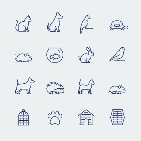Huisdieren gerelateerde icon set in dunne lijn stijl